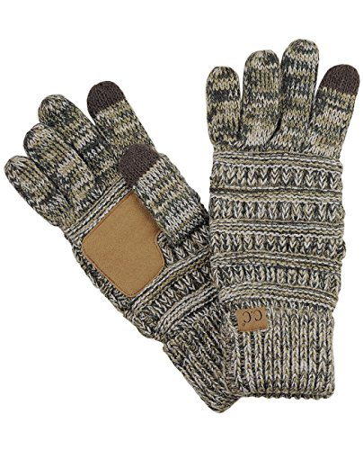 C.C Unisex Cable Knit Winter Warm Anti-Slip Touchscreen Texting Gloves, Camel/Gray/Black