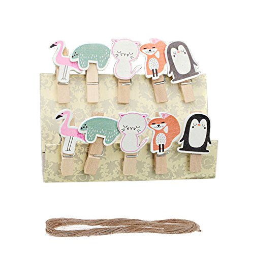 Vpang 50 Pcs Cute Mini Wooden Cartoon Design Pegs Clips Card Photo Holder Clothespins Wedding Decorations with Jute Rope (Animal) (Wedding Cartoon Picture)