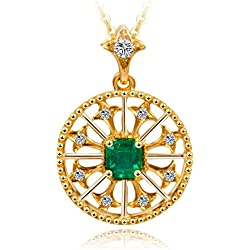 Carleen 18K Gold Women Necklaces Genuine Emerald Pendant Necklaces