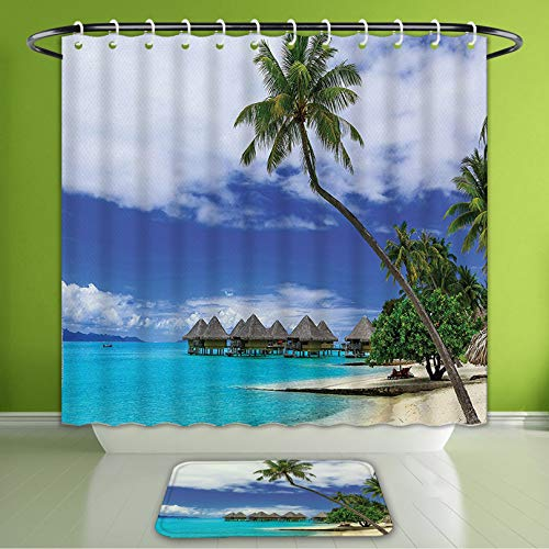 - Waterproof Shower Curtain and Bath Rug Set Tropical Decor Over Water Bungalows of Tropical Resort Bora Bora Island Pacific Bath Curtain and Doormat Suit for Bathroom Extra Wide Size 78