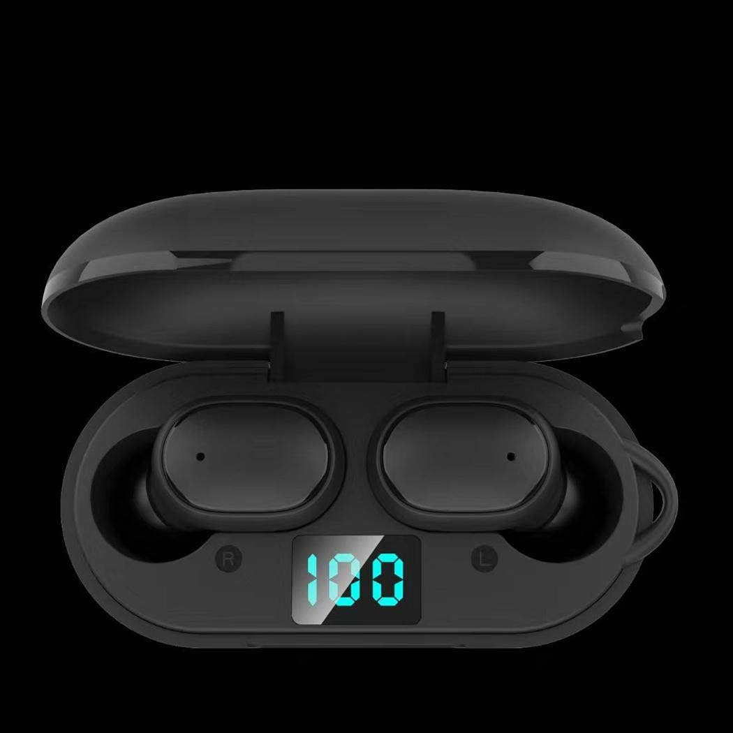 pairris Inalámbrico Bluetooth 5.0 Auricular Mini estéreo Auriculares Impermeables Pantalla LED Auriculares y Cargadores suplementarios