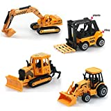 Mini Alloy Engineering Construction Vehicle Model Inertia Toy Bulldozers Backhoe Car Excavator Forklift Truck Play Set For Boys Girls Toddlers Children's Early Learning Educational Toys(Random Style)