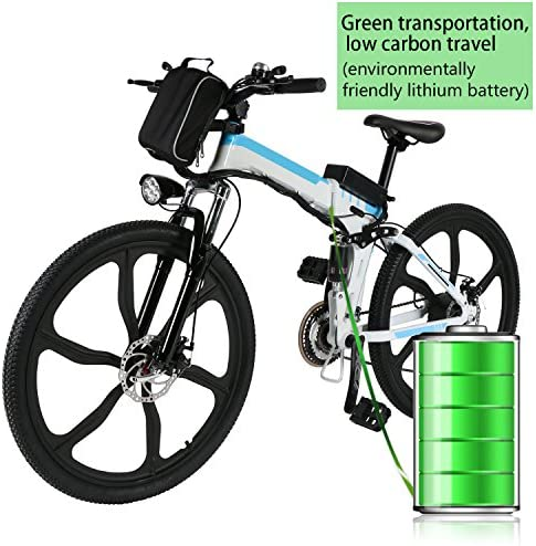 Electric Bike for Adults, 26″ Foldable Electric Mountain Bike, E-Bike Electric Commuting Bicycle with Fast Charge 36V 8AH Lithium-Ion Battery & Professional 21 Speed Gears