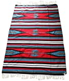 Del Mex (TM) Hand Made Woven Mexican Diamond Falsa Blanket (Red)