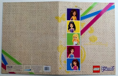 Lego Friends 2 Pocket Designed, Name Brand School Folder (PINK GREEN BLUE Stripe Vertical - Quiz Unique Personality