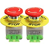 2 Pcs x LAY37 Red Mushroom Emergency Stop Push Button Switch NO + NC 22mm CNC Gecko