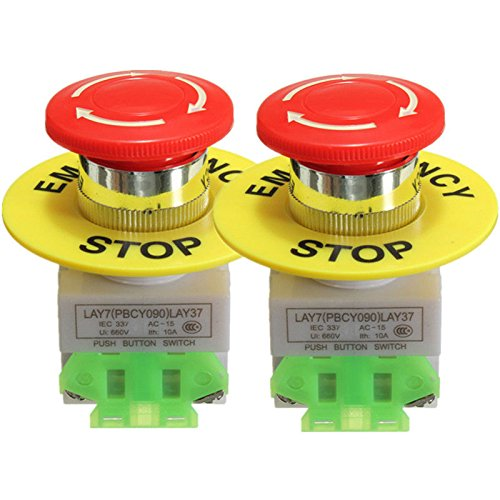 2 Pcs x LAY37 Red Mushroom Emergency Stop Push Button Switch NO + NC 22mm CNC Gecko