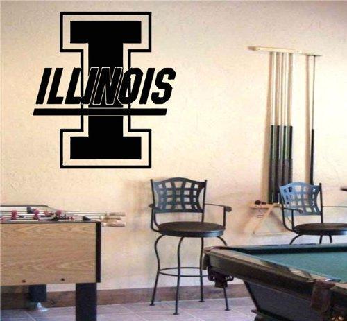 NCAA Illinois Fighting Illini Logo Decal Wall Art Sticker Decal (Illini Wall)