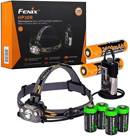 Fenix hp30r LED frente lámpara 1750 lumen con 2x 2600mah 18650 baterías negro
