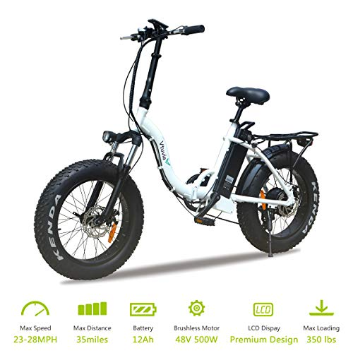 VTUVIA Folding Electric Bicycle with 500W Motor and 48V 12AH Removable Lithium-Ion Battery 20 Inch Fat Tire Bike City Mountain E-Bike for Adults(White) (Best Electric Bike Reviews 2019)