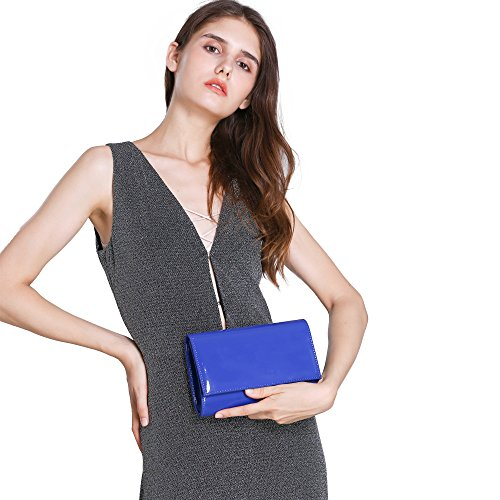 Leather New Evening Handbag Solid Women Fashion wallyn's Patent Wallets Bag Color Purses Royalblue Clutch Rz75qn