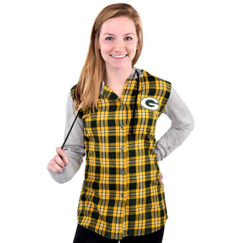 FOCO Green Bay Packers Lightweight Flannel Hooded Jacket - Womens Extra Large