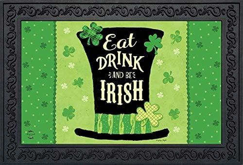 Eat Drink and Be Irish Hat Doormat St. Patrick s Day Indoor Outdoor 18 x 30
