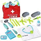 19PC Pretend Play Doctor Set with Custom Doctor Coat and Bag - Light Up Stethoscope, Needle, Thermometer, etc. Educational Toy
