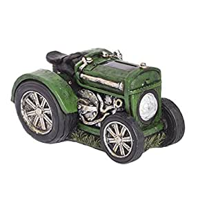 Tractor verde solar adorno de jardín