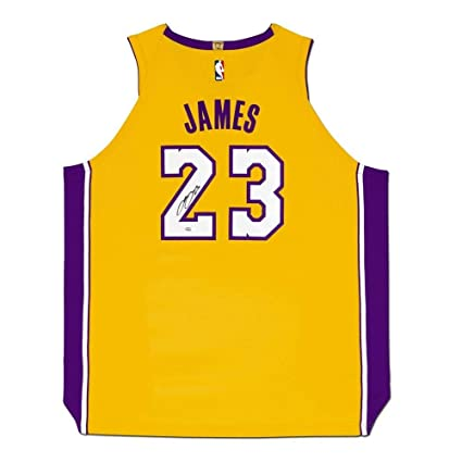 size 40 049da 6f567 LeBron James Autographed Los Angeles Lakers Gold Authentic ...