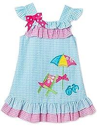 b833674811 Girls Turquoise Seersucker Beach Dress (12mt-4t). Rare Editions