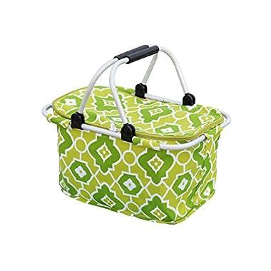Best Token Foldable Picnic Basket Bag Waterproof Food Storage (Green)