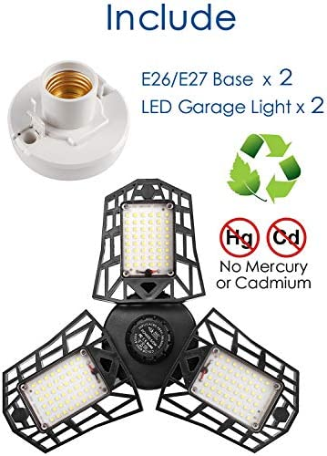 2-Pack Garage Lights 60W LED Garage Lighting - 6000LM 6500K LED Three-Leaf Garage Ceiling Light Fixtures, LED Shop Light with Adjustable Multi-Position Panels, LED Glow Light for Garage, Workshop