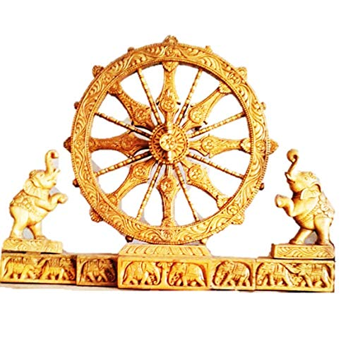Indikart Export Wood Carving Konark Wheel with Both Side Elephant Work Showpiece