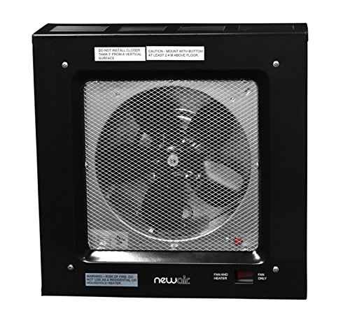 NewAir G80 Electric Garage Heater, 5000-watt, Black (Ceiling Heaters Residential)