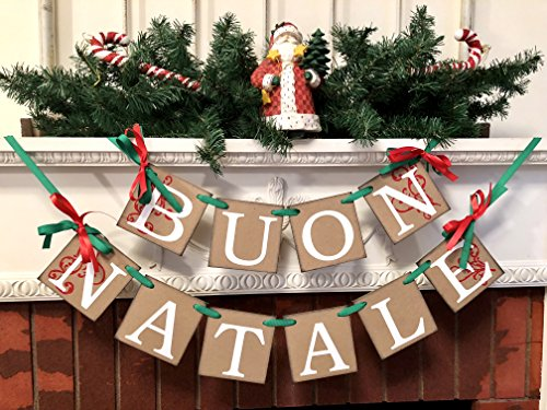 buon natale banner red white and green italian christmas garland rustic inspired italian christmas decorations christmas banners