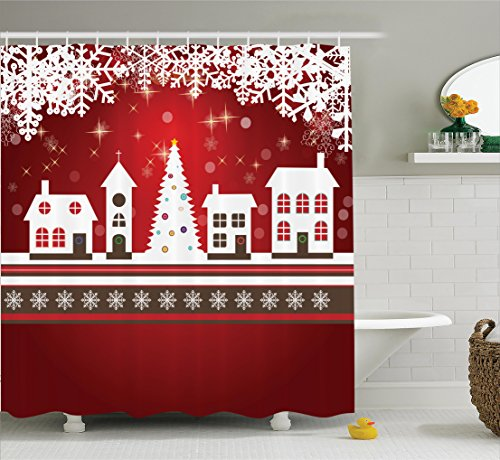 Christmas Decorations Shower Curtain Set By Ambesonne, Winter Holidays Themed Gingerbread Houses Xmas Tree Lights And Snowflakes Image, Bathroom Accessories, 69W X 70L Inches, Red White