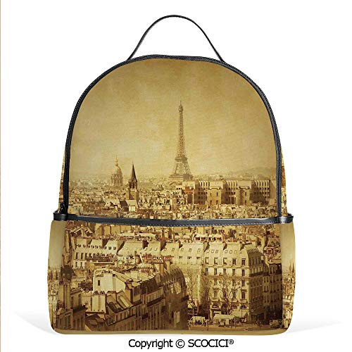 All Over Printed Backpack Classic Photo of Eiffel Tower Paris National Landmark Old Album Memories Vintage,Brown,For Girls Cute Elementary School Bookbags