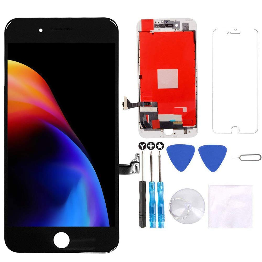 for iPhone 8 Screen Replacement Black 4.7 inch,3D Touch LCD Display & Touch Screen Digitizer Frame Assembly Set with Repair Tool Kit + Free Screen Protector by TEKcians