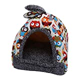 POPETPOP Cat Dog Puppy Winter Warm Tent Detachable Sun Shelter House for Pets Indoor and Outdoor Size XL (Owl)
