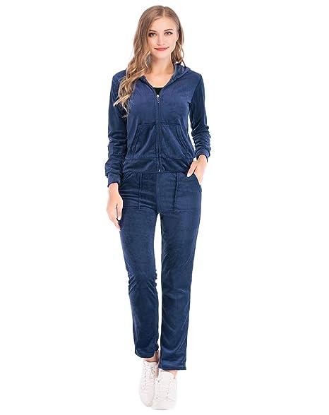 Amazon.com: Sudadera con cremallera y pantalones para mujer ...