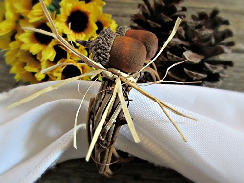 Fall Acorn Napkin Rings Holders for Autumn Party and Thanksgiving Table Decoration (Set of 4, 6, 8, 10, 12)