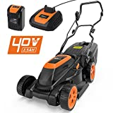 TACKLIFE Cordless Lawn Mower, 40V Lawn Mower, 3-in-1, Cutting Width 38 cm, 6 Lever of Cutting Height, 40L Grass Box, Double Folded Handle, 1H Quick Charge - Samsung Battery - GLM4B