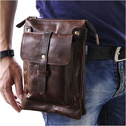 Le'aokuu Mens Genuine Leather Coffee Fanny Small Messenger Shoulder Satchel Waist Bag Pack