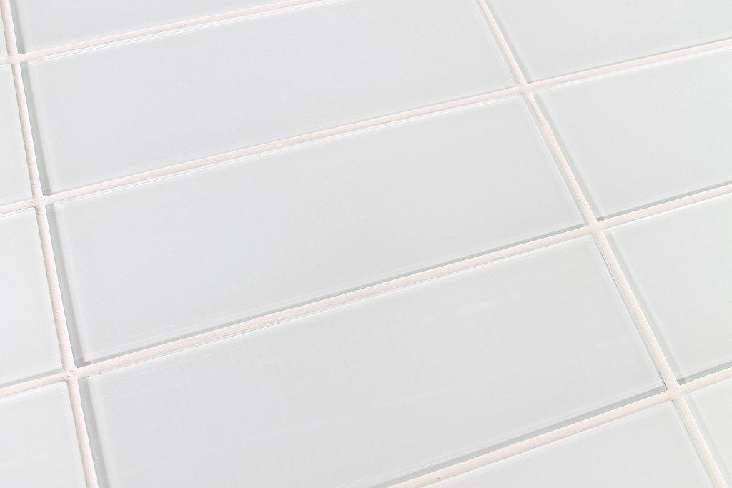 10 Sq Ft of Snow White 4x12 Glass Subway Tiles