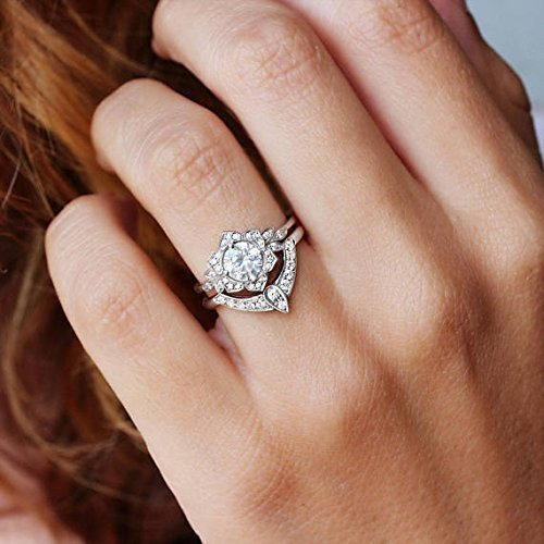 ba49bb873c219 Amazon.com: Moisanite & Diamonds Uniuqe Engagement Rings Set, Lily ...