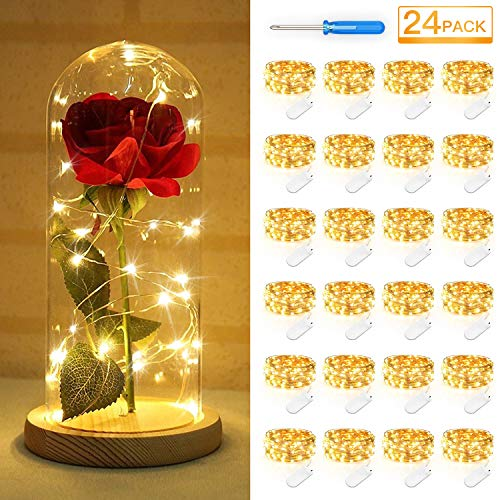 24 Pack Fairy Lights Battery Operated, 7.2FT Firefly Starry String Lights Waterproof, 20 Micro LEDs Warm White Copper Wire Portable Bulk Fairy Lights for Wedding Bedroom Party Christmas Festival
