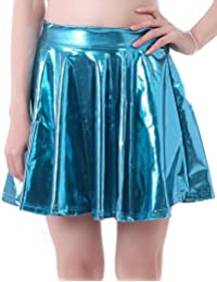 HDE Women's Shiny Liquid Metallic Wet Look Flared Pleated...