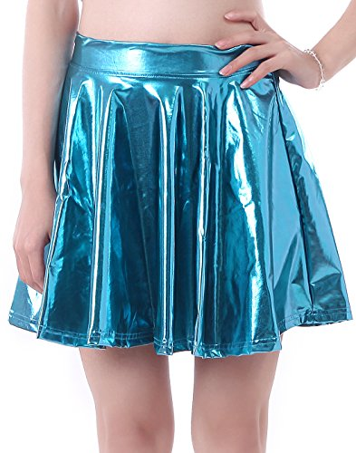 HDE Plus Size Shiny Liquid Skater Skirt Flared Metallic Wet Look Pleated Skirt (Teal, 3X) ()