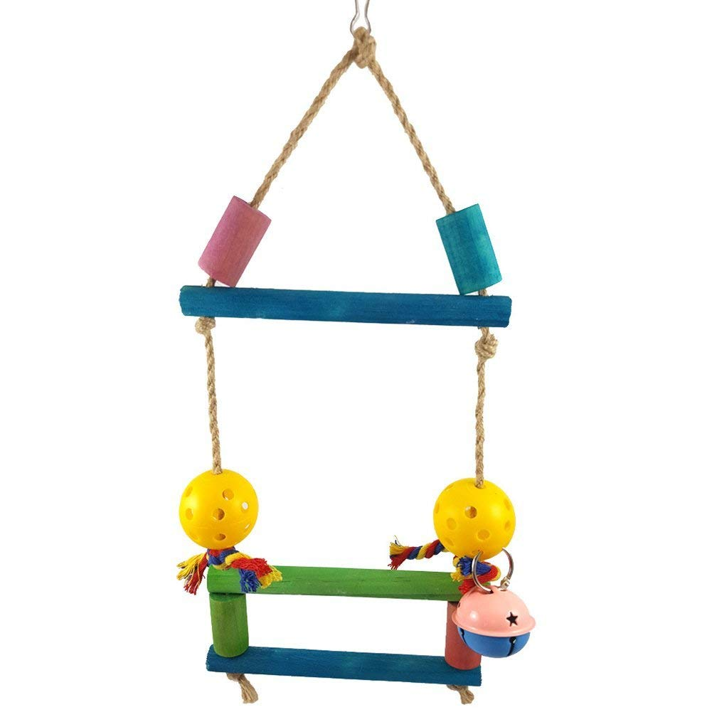 Wooden Swing Bells Parrot Climbing Bite Play Toy Pet Bird Cage Hanging Decor - Random Color Premium Quality by Yevison