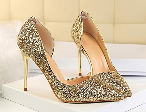 9 Of The Heel Patent Toe 5 Side Stiletto Hollow Shoes Qiyun Wedding z Pointed High Dress Pumps Sequins Women Cm Gold wxqCpZO