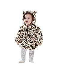 Baby Girls Leopard Coat Princess Winter Outfit Thicken Hoodie Baby Fleece Jacket - Size110
