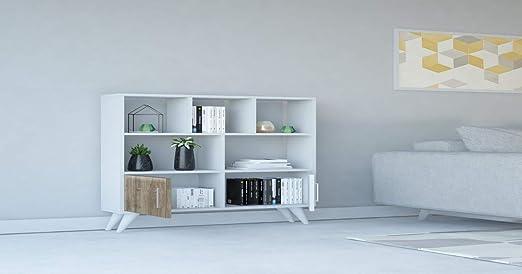 Legno Homemania Libreria Ducky 90x22x105 cm Bianco-Noce