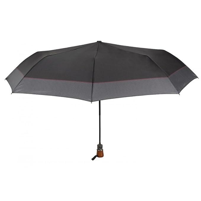 PERLETTI Paraguas hombre mini automático TIME negro a prueba de viento O52