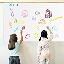 Rabbitgoo Self-Adhesive Wall Sticker Wall Paper Whiteboard Sticker Chalkboard Contact Paper (White) 17.7 by 78.7 Inches with 1 Marker Pen for School/ Office/ Home (for Water-based Marker Pen)