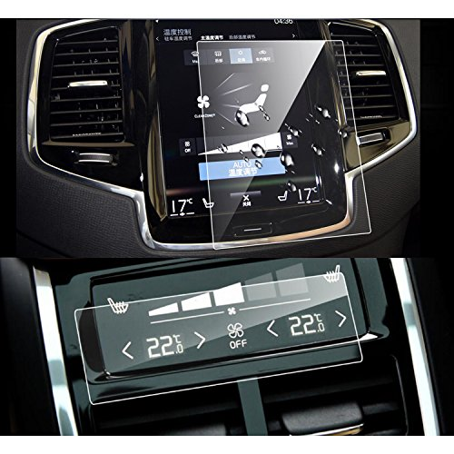 LFOTPP Volvo V90 XC90 2016 2017 2PCS Car Navigation and Air Conditioning Display Screen Protector, Clear Tempered Glass Center Touch Screen Protector Against Scratch High Clarity by LFOTPP