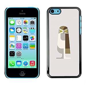 [Neutron-Star] Snap-on Series Teléfono Carcasa Funda Case Caso para iPhone 5C [Arte del búho de Brown Polígono Beige Aves]