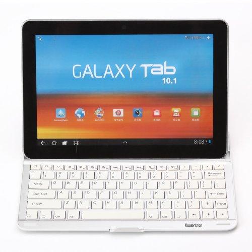 Koolertron Bluetooth Funda Teclado Inalámbrico con Soporte Aluminio para Samsung Galaxy Note 10.1 N8000 N8010(Teclado QWERTY)