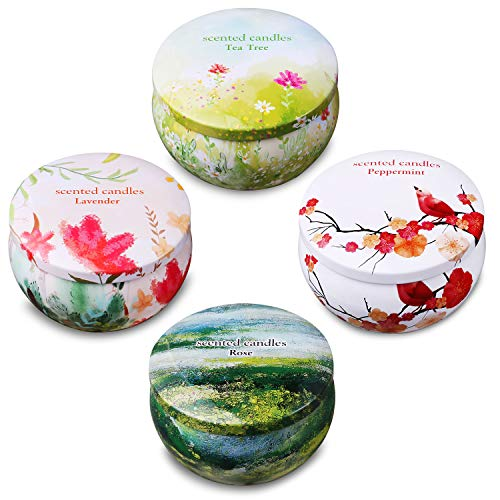 - Ahyiyou Scented Candles, Natural Scented Votive Candles Gift Set, 100% Soy Wax Tin Candles for Stress Relief and Aromatherapy Candles - Lavender, Rose, Tea Tree and Peppermint (4 Packs)(2.2 oz)
