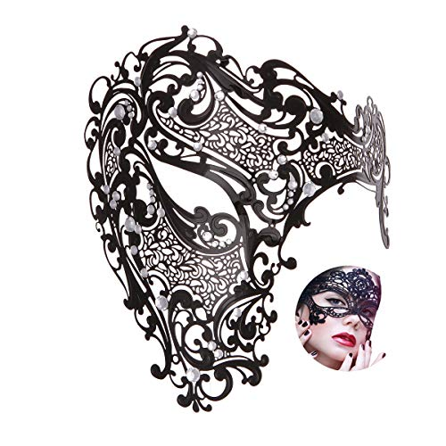 Masquerade Mask Women Shiny Rhinestone Venetian Party Prom Ball Metal Mask (Half Face Big) -